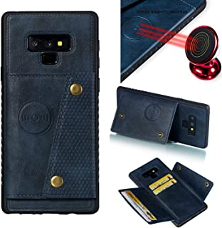 Note 9 Case I Samsung Galaxy Note 9 Wallet Case I Leather Slim Case Cover with Card Holder Slots Kickstand and Magnetic Car Mount Back | Metal Rugged Holster