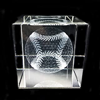 3D Baseball Paperweight(Laser Etched) in Crystal Glass Cube Gift For Graduation Christmas Birthday Valentine's day (baseball)