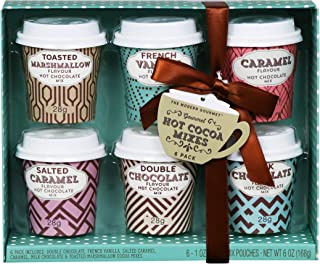 Thoughtfully Gifts, Mini Hot Chocolate Gift Set, Flavors Includes Caramel, Toasted Marshmallow, French Vanilla, Salted Caramel, Double Chocolate and Milk Chocolate, Set of 6
