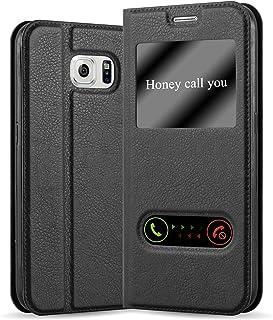 Cadorabo Hülle für Samsung Galaxy S6 in KOMETEN SCHWARZ – Handyhülle mit Magnetverschluss, Standfunktion und 2 Sichtfenstern – Case Cover Schutzhülle Etui Tasche Book Klapp Style