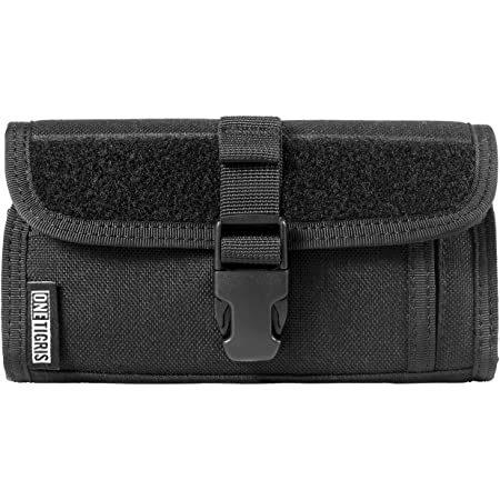 """OneTigris Horizontal Zipper Phone Holster for 2.25"""" Belt with MOLLE Strap and Quick Release UTX-Duraflex Buckle for 4.7 inch 5 inch Phone (Armor Zero - Black)"""