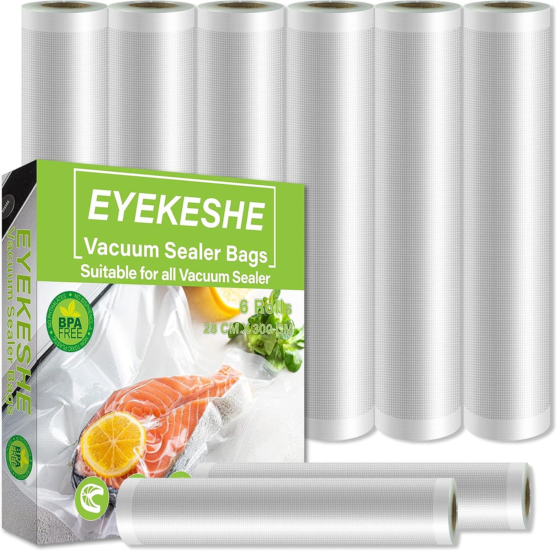 EYEKESHE Bolsas Envasar al Vacio Alimentos 6 Rollos 28×300cm, Seguro Antifugas Profesional sin BPA Rollos para Envasadora al Vacio, para Todas Selladora de Bolsas Plastico Alimentos, Sous Vide Cocina