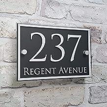 TRJGDCP Modern huis adres plaque deur nummer tekenen naam platen glas effect huisnummers (kleur: bruin)