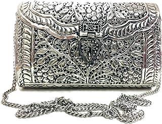 Trend Overseas Women gift Silver Brass Metal bag Bridal Clutch Girls Party Purse