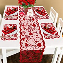 Comken Valentine's Day Table Runner and Placemats- Red, Set of 5 | 1PC Lace Heart Table Runner (13 x 72 Inch) and 4 PCS Lace Table Placemats for Valentines Table Decorations Dinner Party Supplies