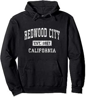Redwood City California CA Vintage Established Sports Design Pullover Hoodie
