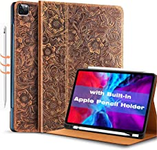 Gexmil for New iPad Pro 12.9 Case 4nd Generation 2020&2018,with Built-in Apple Pencil Holder, Made from Real Leather Cover Cowhide,(Pattern-Brown+Pencil Holder)