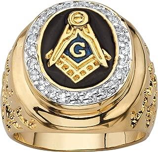 Men's 14K Yellow Gold Plated Round Cubic Zirconia Masonic Nugget Ring