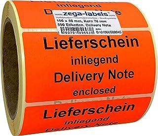 Packing list inside Papier selbstklebend Labelident Warnetiketten auf Rolle 51 x 25 mm 1000 Versandaufkleber auf 1 Rolle Lieferschein innenliegend leuchtrot n 3 Zoll Kern
