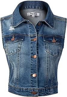 Instar Mode Women's Classic Casual Vintage Denim Jean Jacket/Vest