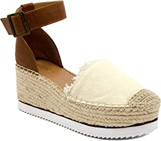 Women's Espadrille Mid Wedge Sandals with Fashion Buckle
