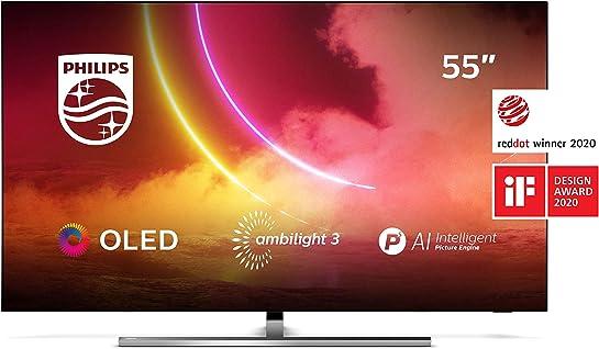 Tv 55 polici philips tv ambilight 55oled855/12  4k uhd tv oled processore p5 ai picture alexa integrata