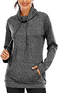 Viracy Women's Lightweight Sweatshirts Cowl Neck Workout Running Tunic Shirts with Pocket