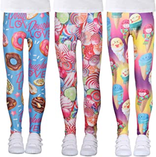 LUOUSE Printing Flower Girls Stretch Leggings Kids Ankle Length Pants Tights