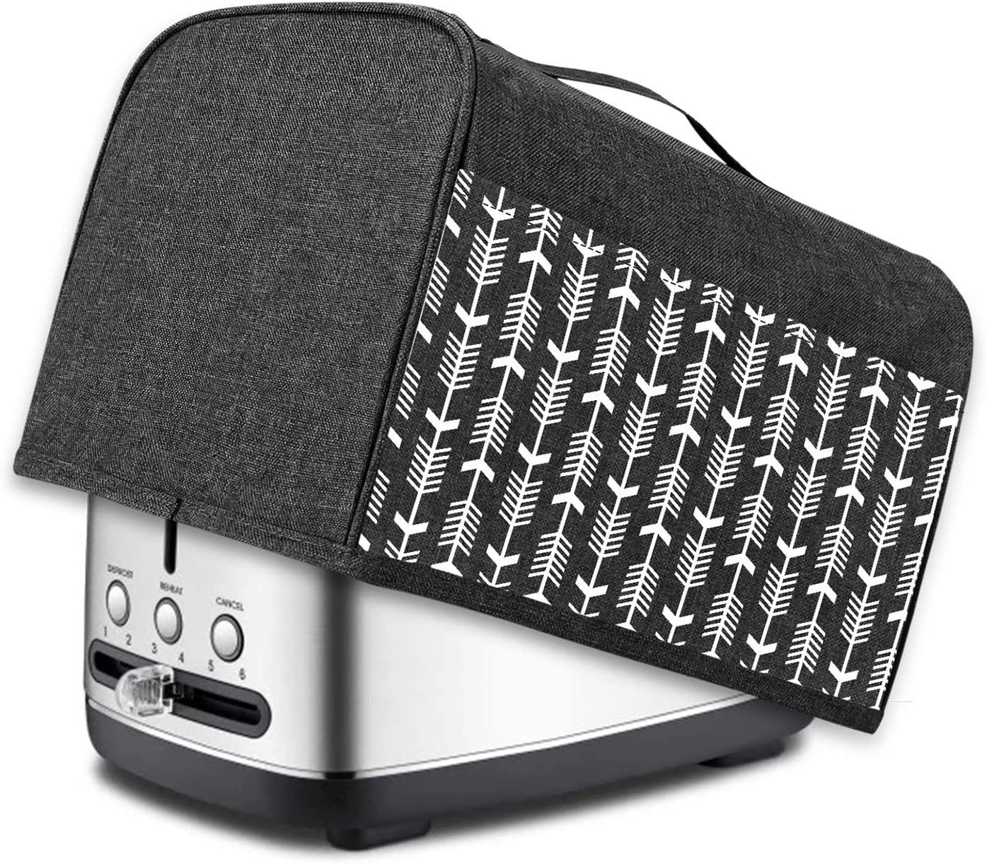 Yarwo 2 Slice Toaster Cover with Pockets and Top Handle, Nylon Toaster Cover Fits for Most Standard 2 slice Toasters, Black with Arrow