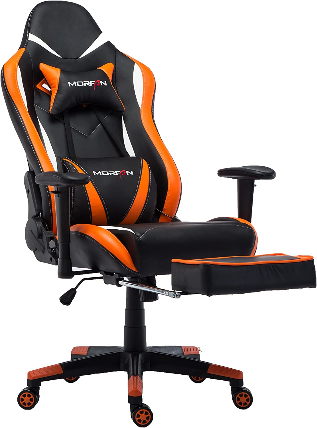 Morfan Gaming Chair Large Size マート Footrest and Rock ラッピング無料 with ,Massage