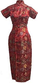 فستان Cheongsam طويل صيني أحمر للسيدات من 7Fairy مزود بعشرة أزرار