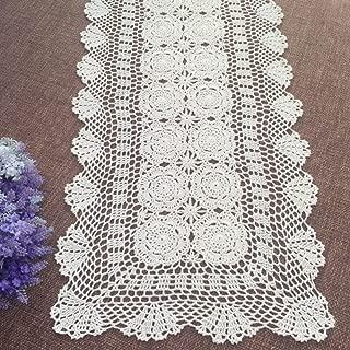 Elesa Miracle Handmade Rectangular Crochet Cotton Lace Table Runner Placemats Doilies, Flower, Beige/White (15x54, Beige)