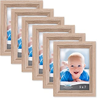 Icona Bay 5x7 Picture Frame (6 Pack, Weathered Oak Wood Finish), Photo Frame 5 x 7, Composite Wood Frame for Walls or Tables, Set of 6 Cherished Memories Collection