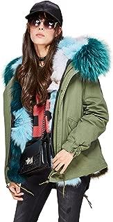 Melody Women's Luxurious Raccoon Fur Collar Hooded Coat Real Fox Fur Liner Parka Winter Short Jacket