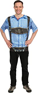 Lederhosen 3-D Realistic Dry Fit Adult T Shirt with Faux Blue Checkered Pattern Essence of Europe Gifts E.H.G