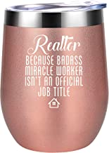Best Realtor Gifts for Women - Realtor Because Badass Miracle Worker isn't an Official Job Title - Closing, Christmas Gifts for Real Estate Agent Salesperson, New Realtor Broker - Coolife Wine Tumbler