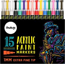 Acrylic Paint Pens for Rock Painting, Stone, Ceramic, Glass, Wood, Canvas - Set of 15 colors, Extra Fine Tip Water based P...