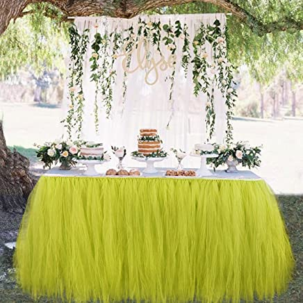 Wonepo DIY Pompoms Table Runner Table Skirts Table Centerpieces Chair Sash Lace Bow Sheer Organza Roll for Wedding Birthday Party Decorations 15cmx 22m Set of 5 (Yellow)