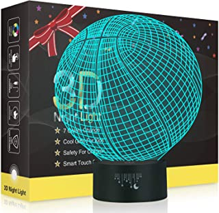 Basketball 3D Night Light,Metplus Kids Room Decor Bedside Lamp 7 Colors Change LED Illusion Table Desk Lamps Touch Sensor USB for Children Xmas Birthday Gift