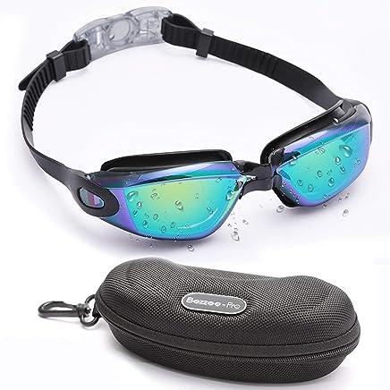Bezzee-Pro Adulto Gafas de natación Profesional Farbige Espejo Vasos, Anti empañamiento Funda/Carcasa, Pinza para la Nariz y Tapones–Ojo de Silicona rígida, Impermeable