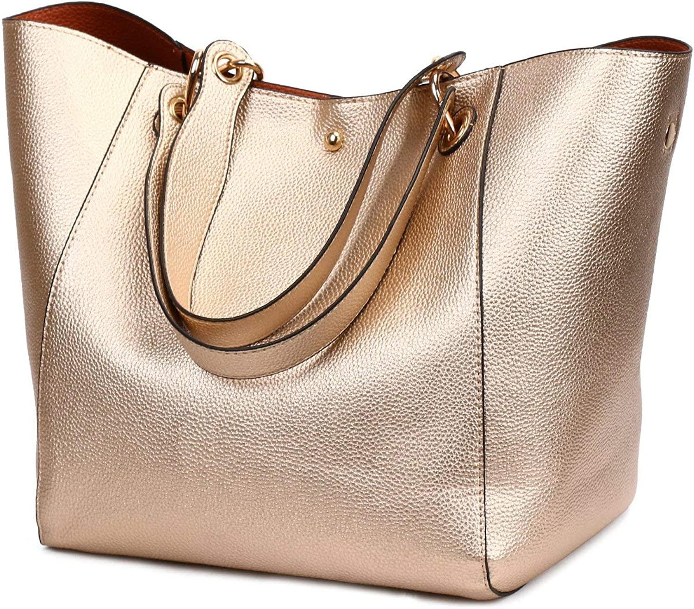 Huasen Evening Bag Women's Shoulder Bag, Large Capacity PU Handbag for Business and Leisure Party Handbag (color   pink gold)