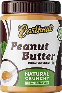 Earthnut Natural Peanut Butter Crunchy 1 KG (Unsweetened / Gluten Free / Non-GMO / Vegan)