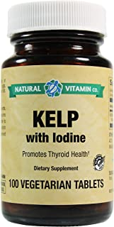 Natural Vitamin Co. - Kelp with Iodine, Iodine (from kelp, Potassium Iodide) 225mcg, 100 Tablets, 3+ Month Supply, Gluten ...