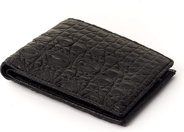 CROCODIILE BIFOLD WALLET | Dark Black Backbone durable leather | Hand-stichching | Professionally Design Wallet (black)