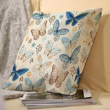 VEIMER Butterflies Seamless PatternFancyCountry FlowerAnd BirdLinen Throw Pillowcase Sofa Pillow, Cushion Cover Both Sides Pr