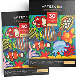 Arteza Bloc de Papier Aquarelle A4 200 g/m2 pour E