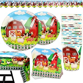 102 Piece Farm Animal Party Supplies Set Including Banner, Plates, Cups, Napkins, Tablecloth, Serves 25