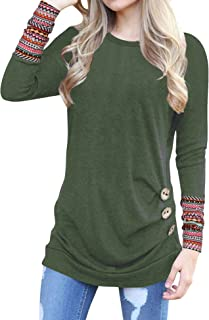 Oyamiki Women Casual Loose Round Neck Long Sleeve Patchwork Tunic Blouse T-Shirt Tops