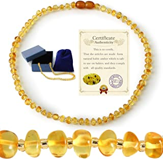 Baltic Amber Teething Necklace for Babies Anti Flammatory Drooling Teething Pain Reduce Properties with Natural Certificated Highest Quality Baby Real Amber Jewelry(honey color)