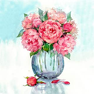 Paint by Numbers for Adults Framed, DIY Oil Painting Kit for Beginner and Kids with Acrylic Paints, Brushes and Canvas with Frame 16 x 20 Inch - Flowers: Gentle Peonies - by Tsvetnoy