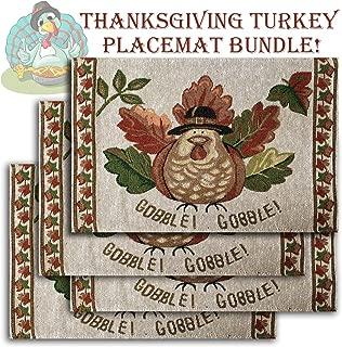 Thanksgiving Turkey Place Mat Set, Bundle Includes 4 Matching Turkey Themed Place Mats
