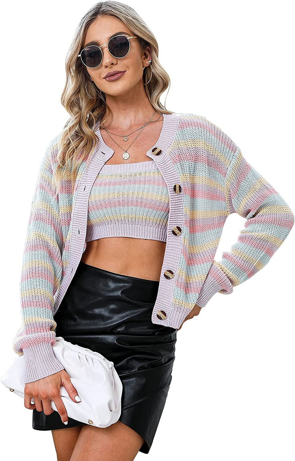 EXLURA Women's Button Down Open Front Knit Cardigans 2 Piece Cropped Sweater