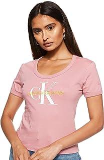 تي شيرت بتصميم طفولي للنساء من مجموعة جينز مصبوغ بالوان طبيعية ومزين باحرف العلامة التجارية من كالفن كلاين