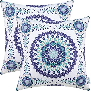 CaliTime Pack of 2 Cozy Fleece Throw Pillow Cases Covers for Couch Bed Sofa Fantasy Compass Floral Print 18 X 18 Inches Main Navy Blue