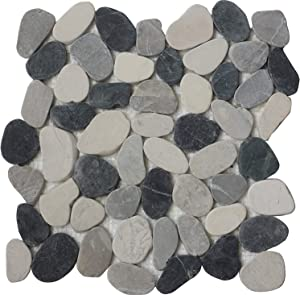 Interlocking Pebble Floor Tiles (10-Sheets) Kitchen, Bathroom, Deck and Patio Flooring   Indoor and Outdoor Use   Natural White Grey Black Stones Tile   Quick and Easy Grout Installation