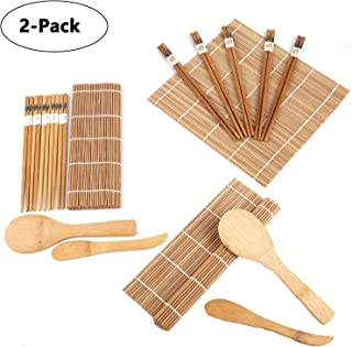 Lawei 2 pack Bamboo Sushi Making Kit - Includes 4 Bamboo Sushi Rolling Mats, 10 Pairs Chopsticks, 2 Rice Paddle, 2 Rice Spreader, 100% Bamboo Sushi Mats and Utensils