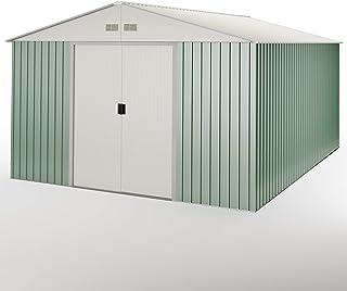 Hoggar by Okoru Caseta metálica Verde/Beige para Almacenamiento 15,50 m2 343x452x223cm. Cobertizo Jardin