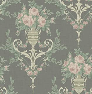 Floral Vintage Black Wallpaper Pink Green Cream Chinoiserie Vintage Arts and Crafts Style