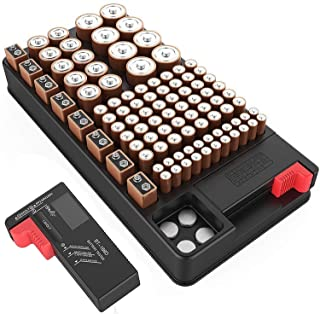 Battery Organizer Storage case with Battery Tester for AAA AA C D 9V and Button Batteries Storage Box Holds 110 Batteries ...