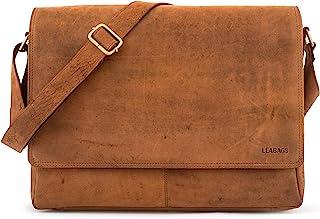 LEABAGS Oxford Umhängetasche Laptoptasche 15 Zoll aus Leder im Vintage Look, Braun As Vintage